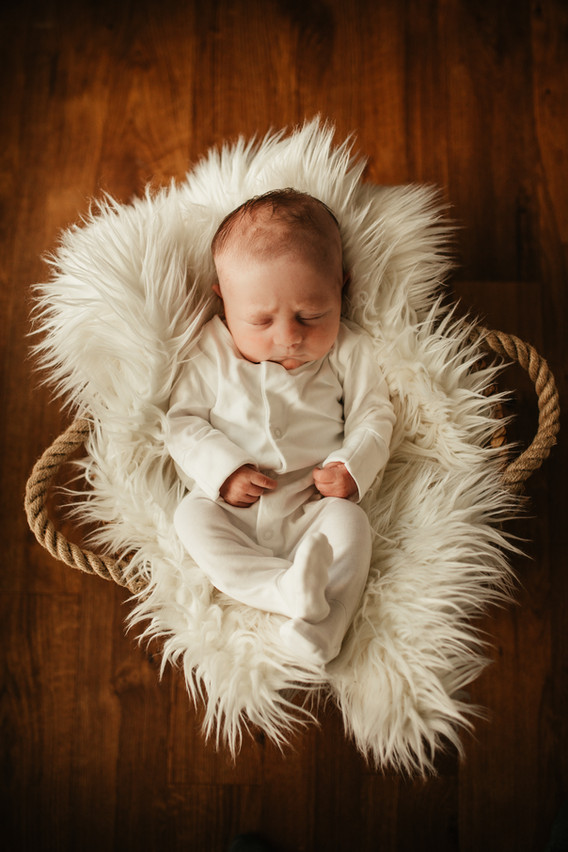 baby in a basket. by Stephanie Atkins photography