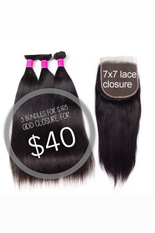 3 Bundles For $165 Add a Closure for $40