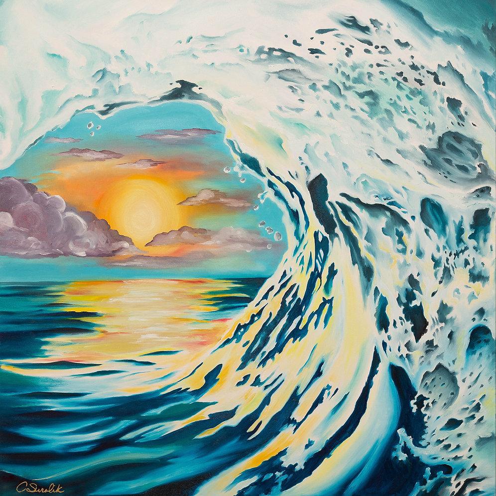 sunset wave high quality canvas print inkspirationart. Black Bedroom Furniture Sets. Home Design Ideas
