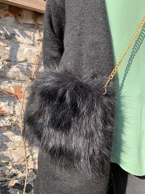 Schoudertasje in zacht (nep) pelsje