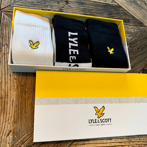 Box met 3 paar retro sokken Lyle&Scott