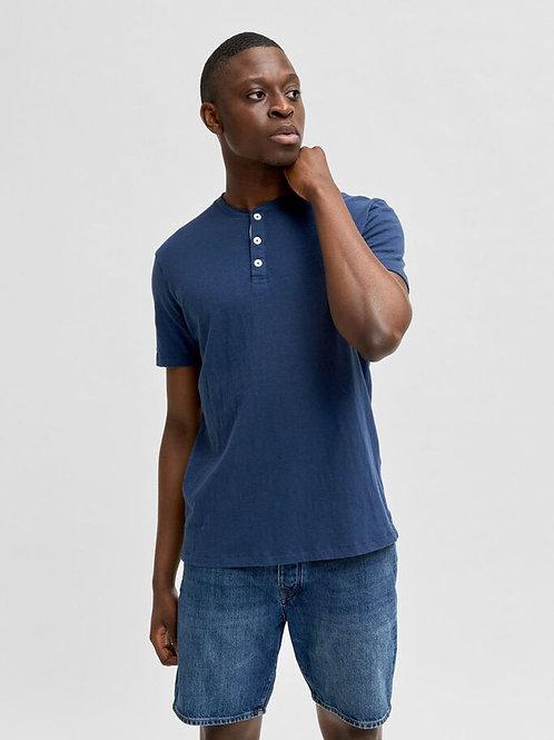 T-shirt piqué slub Henley stijl