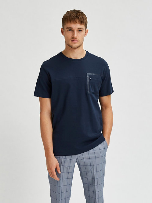 T-shirt korte mouw met borst ritszakje Selected Homme