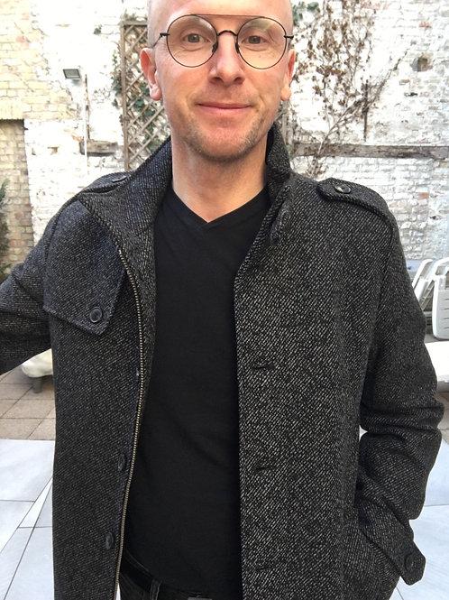 Mantel met wol in chevron print van Selected