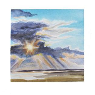 "Sun through clouds 12"" x 12"" watercolor"