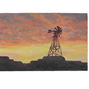 "Windmill sunset siluette 12"" x 9"" acrylic on paper"