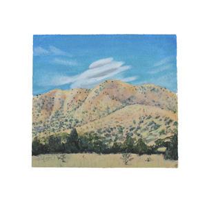 "Lenticular clouds in Cerrilos 9"" x 9"" acrylic on paper"