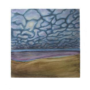 "Puzzle piece clouds 12"" x 12"" watercolor"
