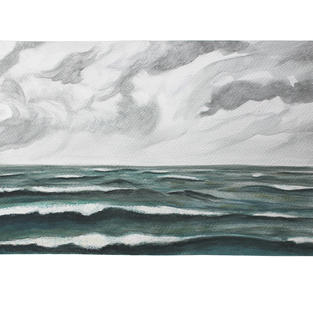 """Clouds and emerald sea 15"""" x 11"""" watercolor"""