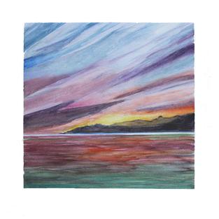 """Rainbow sky sea 12"""" x 12"""" watercolor"""