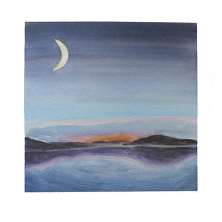 """Crescent moon and mountain lake 12"""" x 12"""" watercolor"""