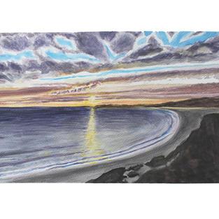"Sunset ocean horizon 15"" x 11"" watercolor"