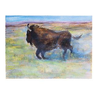 """Running Buffalo in color fileds 11"""" x 9"""" acrylic on paper"""