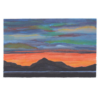 """Mountains sunset siluette 12"""" x 9"""" acrylic on paper"""