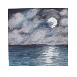 """Moon and clouds over ocean 12"""" x 12"""" watercolor SOLD"""