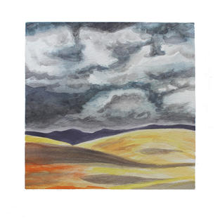"""Clouds over hills 12"""" x 12"""" watercolor"""