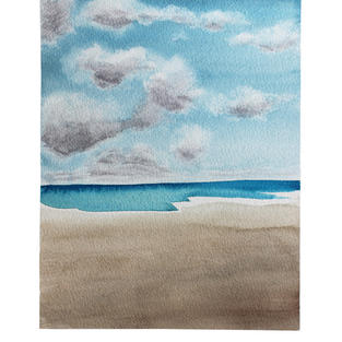 "Flat ocean day 9"" x 11"" watercolor"