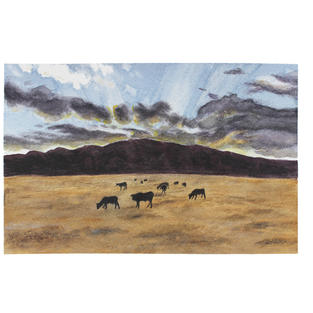 """Grazing cows at sunset 12"""" x 9"""" watercolor - SOLD"""