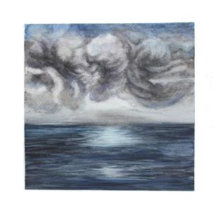 "Tumutuos clouds over ocean 12"" x 12"" watercolor SOLD"