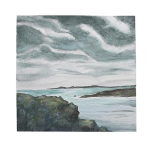 """Ocean cove 12"""" x 12"""" watercolor SOLD"""