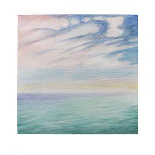 "Pastel ocean scape 12"" x 12"" watercolor"