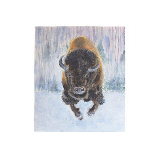 """Buffalo running in snow 6"""" x 9"""" acrylic on paper SOLD"""