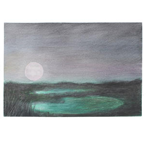 "Moon over ponds 12"" x 9"" watercolor"
