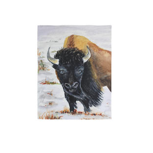 """Buffalo standing in snow 5"""" x 9"""" watercolor"""