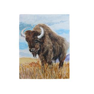 """Buffalo standing in field 5"""" x 9"""" watercolor"""