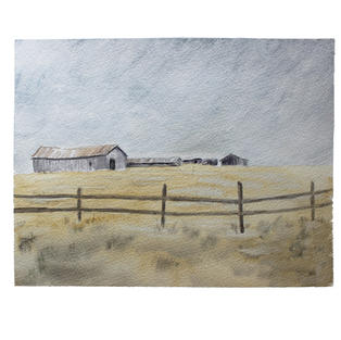 "Barn and grey sky 11"" x 9"" watercolor"