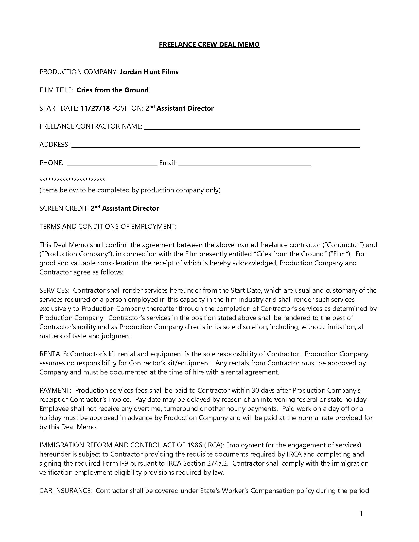 Crew Deal Memo