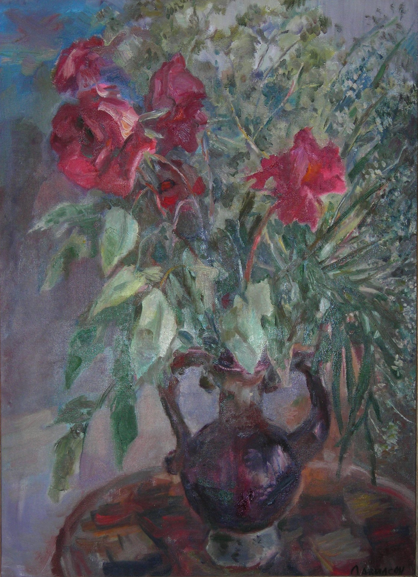 Увядающие розы. 2004г. х/м75х53