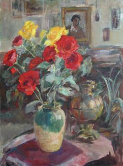 Розы в мастерской.2006г. х/м 80х60