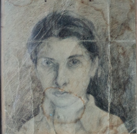 Блокадный автопортрет. бум\кар.1942