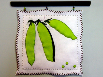 Snow Peas Art Quilt and Pencil Drawing—Matched Set