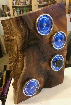 Live Edge Hawaiian Koa Desktop Weather Station and Clock