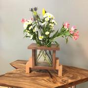 Glass Block Flower Vase
