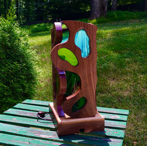 """""""Deconstructed"""" Walnut and Stained Glass Lamp"""