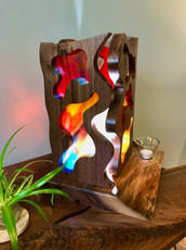 Deconstructed Walnut Stained Glass Lamp #3