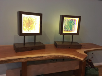 Mid Century Modern Glass Block Lamps