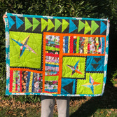 """""""Slice and Dice"""" Lap Quilt with Flowers"""
