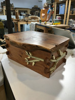 Primitive Applewood Box with Holly Hinge and Intarsia