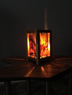 Hawaiian Koa Lamp with 'Suspended' Stained Glass