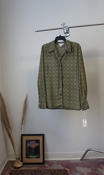 90s Houndstooth Button Down Blouse