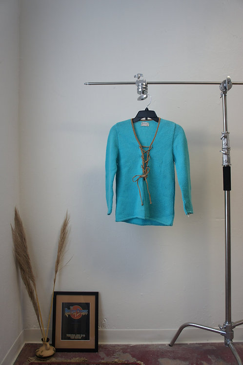 60's Front-Lace Blue Knit Sweater