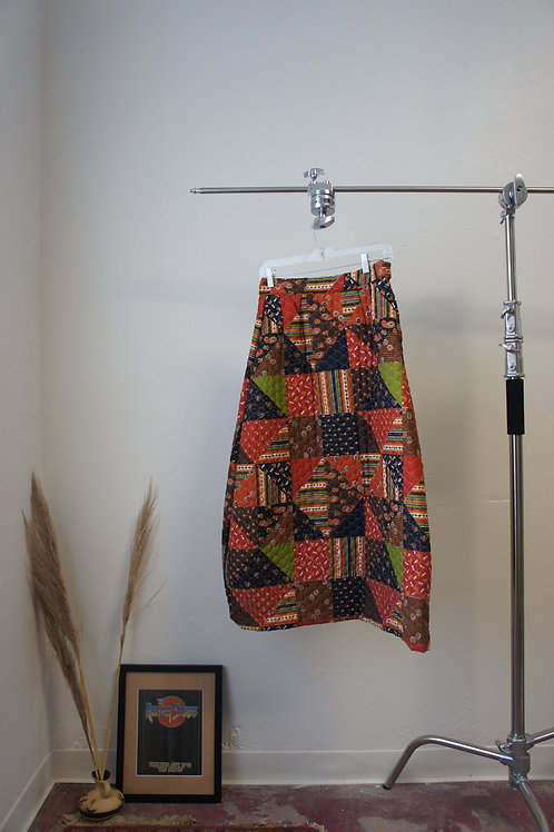 70s Hand-quilted Patchwork Skirt