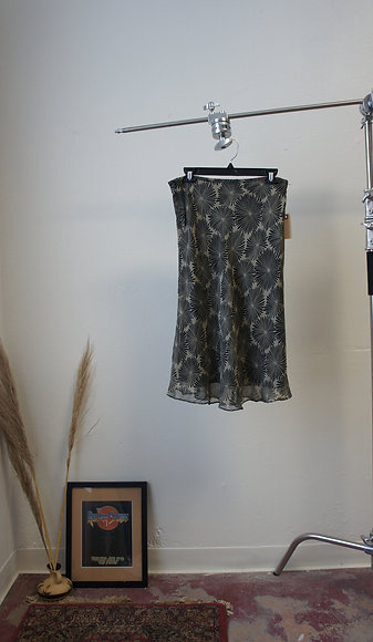 90s Silk Floral Black and Cream Skirt