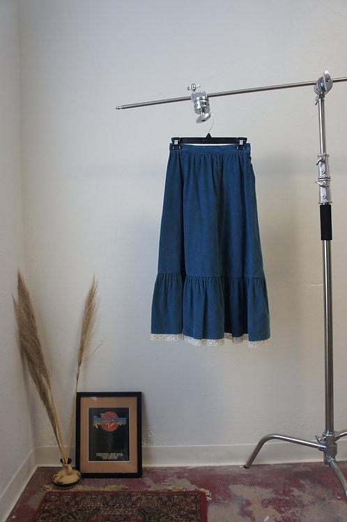 60s Boho Lace Trim Prairie Skirt