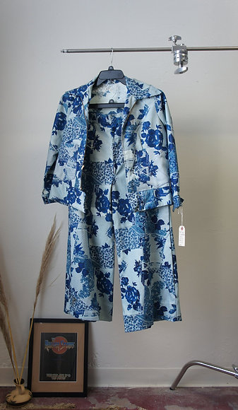 70s Handmade Blue Floral Set