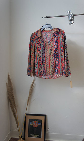70s Homemade Striped Collared Tunic